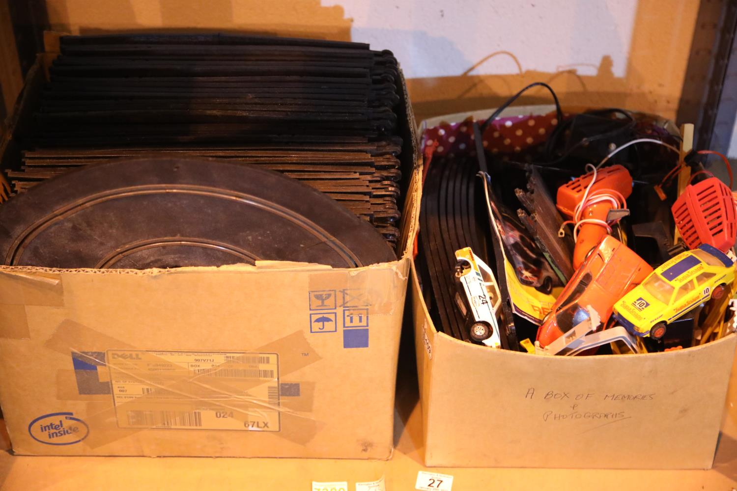 Shelf of mixed Scalextric items including cars and track. Not available for in-house P&P, contact