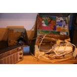Mixed items including microscope, Pye radio and 12v vacuum cleaner. P&P Group 2 (£18+VAT for the