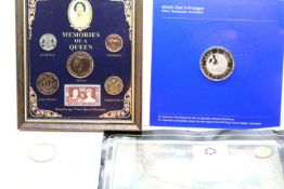 Small quantity of coins including framed and glazed memories of a Queen, world coins and an Elvis