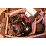 Case holder containing a Minolta Dynax 500 51 camera, a Cobra 700AF-M-1 auto focus flash unit and