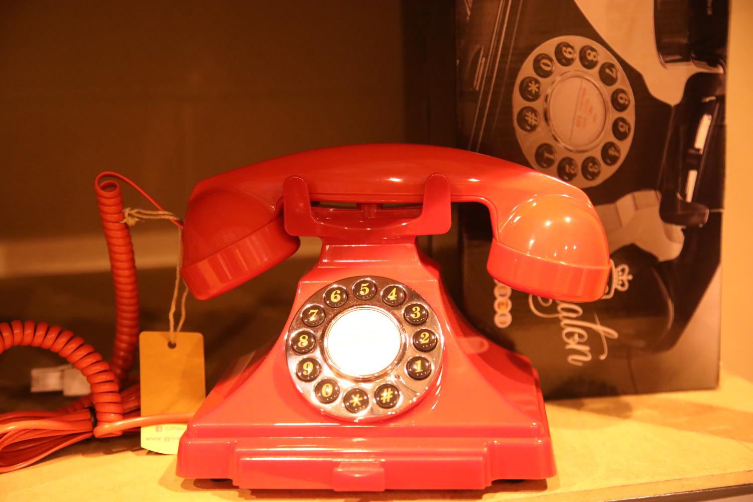 Red GPO Carrington, push button telephone in 1920s styling with pull out pad tray, compatible with