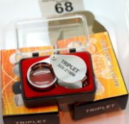 Two boxes 30x21 stainless steel jeweler's loupes. P&P Group 1 (£14+VAT for the first lot and £1+