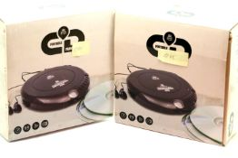 Two GPO personal discman CD player, 3.5mm earphone jack and 4.5v DC in jack, including earphones,