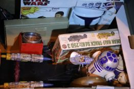 Box of collectable Star Wars toys, Airfix etc. Not available for in-house P&P, contact Paul O'Hea at