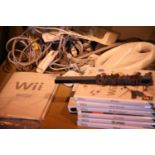 Wii Fit, console board, controllers, steering wheels and a selection of games. Not available for