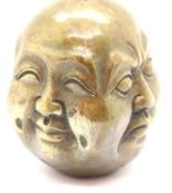 Vintage brass four faced Buddha head. P&P Group 1 (£14+VAT for the first lot and £1+VAT for
