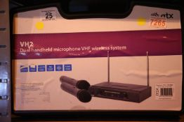 Cased VH2 dual handheld microphones, VHF wireless system. P&P Group 3 (£25+VAT for the first lot and