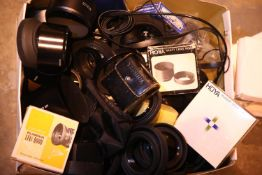 Large quantity of camera lens hoods, filters and other accessories including Hoya, Tamron, Sigma and