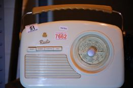 Cream GPO Rydell retro portable DAB+/DAB band II/FM digital radio with retro dial face, unboxed with