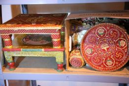 Two decorative prayer type stools and a box of decorative accessories. Not available for in-house