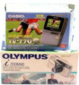 """Casio 2.3"""" LCD colour TV (TV770) and a boxed Olympus 1 zoom 60 compact all weather camera. P&P Group"""