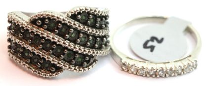 Two silver stone set rings. One marked 925, L & O sizes. P&P Group 1 (£14+VAT for the first lot
