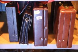 Four briefcases including Antler. Not available for in-house P&P, contact Paul O'Hea at Mailboxes on