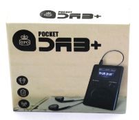 Pocket DAB+ radio with earphones, inbuilt rechargeable battery and an auto adjusting clock, boxed.