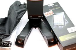 Audiomotion X-7 tablet/phone stand with bluetooth speaker, boxed. P&P Group 2 (£18+VAT for the first
