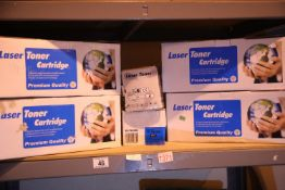 Shelf of mixed laser toner cartridges. Not available for in-house P&P, contact Paul O'Hea at