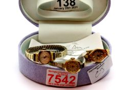 Three ladies watches including Accurist. P&P Group 1 (£14+VAT for the first lot and £1+VAT for