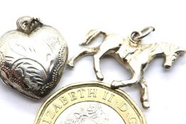 Silver engraved locket and solid horse charm. L: 2 cm. 4.4g. P&P Group 1 (£14+VAT for the first