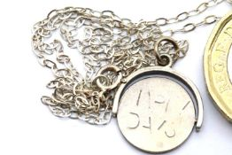 Silver Happy Days flip over pendant on 20'' sterling silver chain. P&P Group 1 (£14+VAT for the