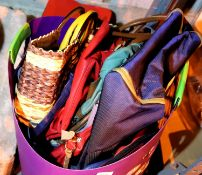 Round plastic basket of handbags and purses. Not available for in-house P&P, contact Paul O'Hea at
