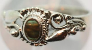Ladies silver and mother of pearl ornate ring, size L, stamped 925. P&P Group 1 (£14+VAT for the