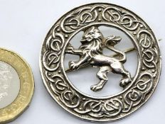 Scottish silver with rampant lion brooch with Celtic border, hallmarked Glasgow 1952, maker Robert