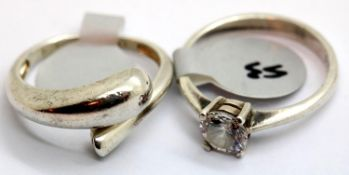 Two 925 silver rings c1970. sizes L & N. P&P Group 1 (£14+VAT for the first lot and £1+VAT for