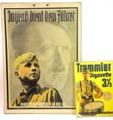 German Third Reich type cigarette advert on card, 21 x 15 cm and a further larger advert on card.