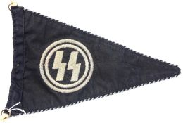 German WWII type SS pennant, L: 32 cm. P&P Group 1 (£14+VAT for the first lot and £1+VAT for