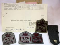 British WWII type WVS patches and ephemera. P&P Group 1 (£14+VAT for the first lot and £1+VAT for