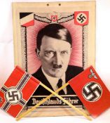 German WWII type Hitler poster on card, 45 x 30 cm. P&P Group 1 (£14+VAT for the first lot and £1+