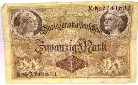 German Imperial type 20 Mark note dated 1914. P&P Group 1 (£14+VAT for the first lot and £1+VAT