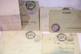 Collection of German handwritten letters and envelopes bearing military stamps, c.1918. P&P Group