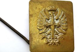 Spanish Franco type brass belt buckle. P&P Group 1 (£14+VAT for the first lot and £1+VAT for