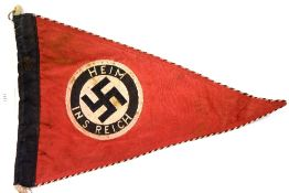 German WWII type Heim Ins Reich pennant, L: 35 cm. P&P Group 1 (£14+VAT for the first lot and £1+VAT