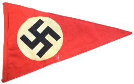 German Third Reich type party pennant, L: 35 cm. P&P Group 1 (£14+VAT for the first lot and £1+VAT