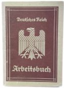 German Third Reich type Arbeitsbuch, named (indistinct) and partly completed. P&P Group 1 (£14+VAT