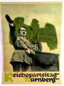 German Third Reich type Reichsparteitag Nurnberg poster, 45 x 32 cm. P&P Group 1 (£14+VAT for the