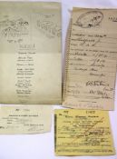 Two 1919 rail tickets and a RFC Second Annual Dinner 29th Dec 1917 menu. P&P Group 1 (£14+VAT for