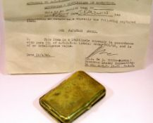 Japanese 1946 dated sword official souvenir retention certificate and a Japanese brass cigarette