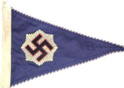 German WWII type pennant, L: 32 cm. P&P Group 1 (£14+VAT for the first lot and £1+VAT for subsequent