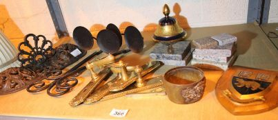 Mixed shelf of items including metalware, brass handles and marble pieces. Not available for in-
