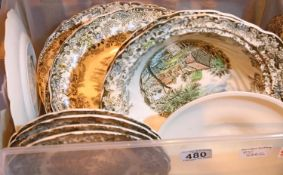Selection of Johnson Bro's Millstream pattern ceramic plates. Not available for in-house P&P,