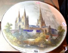 Large ceramic plate of Lichfield Cathedral. Not available for in-house P&P, contact Paul O'Hea at