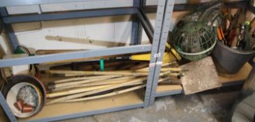 Large collection of mixed gardening tools including drain rods. Not available for in-house P&P,
