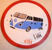 Cast iron VW Campervan sign, D: 25 cm. P&P Group 1 (£14+VAT for the first lot and £1+VAT for