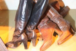 Five pairs of mixed leather boots. Not available for in-house P&P, contact Paul O'Hea at Mailboxes