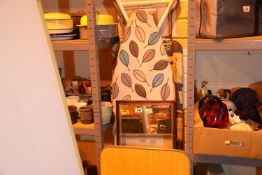 Two folding ironing boards, mirror, folding side table and a box of mixed items including