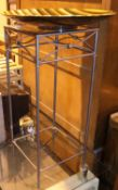 Modern metal framed glass topped plant stand. Not available for in-house P&P, contact Paul O'Hea
