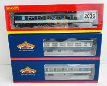 3x Bachmann Blue/Grey 'Pullman & Nightcap Bar' Coaches with Lights (Untested) - Incorrect Boxes P&